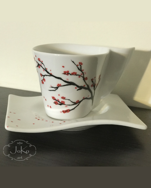 Filiżanka z drzewem wiśni (handpainted cup with cherry blossom)