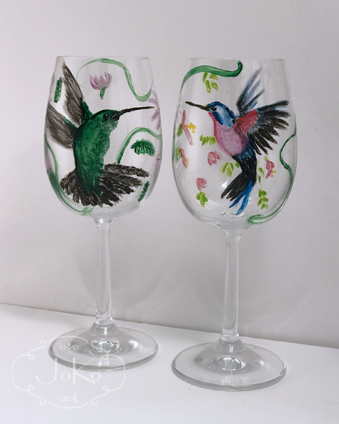 Kieliszki z kolibrami (Wine glasses with humming-birds) 01/2018