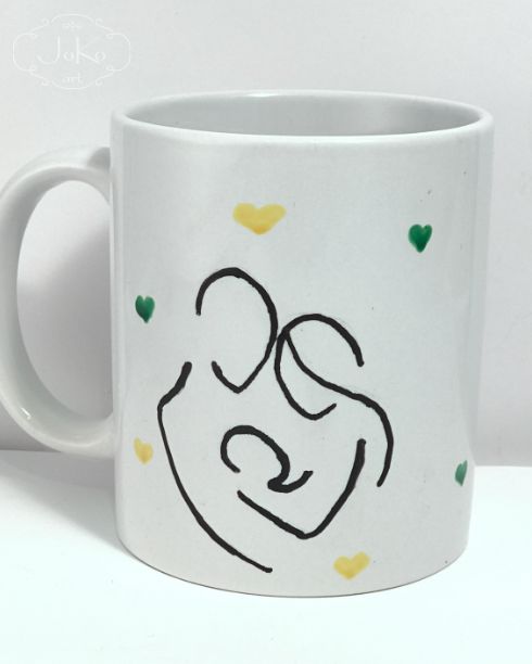 Kubek z rodziną (handpainted cup with family)
