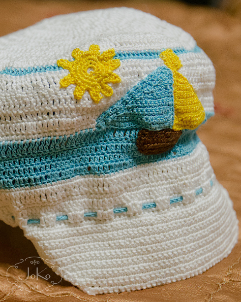 Czapka marynarska (crochet  sailor's hat) 02/2014
