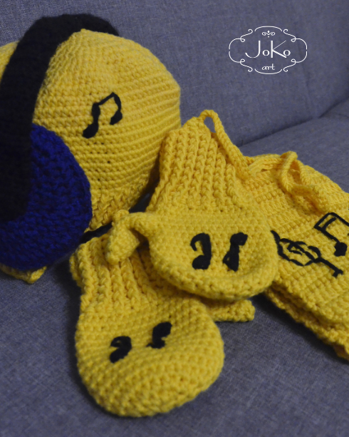 Zimowy zestaw muzyczny (crochet hat, scarf and gloves) 01/2016